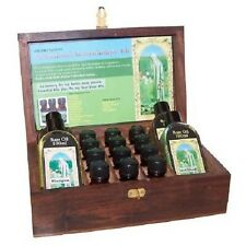 Professional Aromatherapy Kit - 12 Essential 4 Base Oils Hand Carved Wood Box