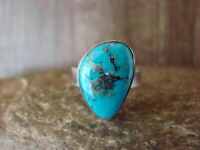 Native American Sterling Silver Turquoise Ring Adjustable by R. Thomas