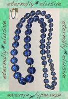 Antique Vintage Art Deco 20's 30s Crystal Blue Czech Glass Faceted Bead Necklace