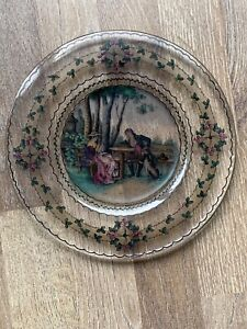 Stunning Vintage Pressed Glass Transfer Printed Collectors Plate, 23.5 Cms dia