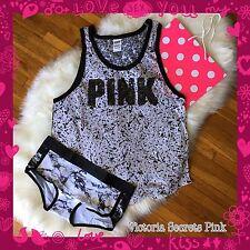 NEW Victoria Secret Vintage Bling PINK Nation Campus Tank Marble Logo Panty Set