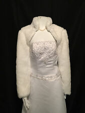 WHITE Faux Fox Fur Bolero Jacket Coat Bridal XS-XXL