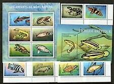 Fish > Central African Rep 2001 Fish Frogs Turtles Mnh 6 + S/L6 +M/S [#3058]
