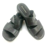 Naturalizer Wiser Black Leather Slide On Womens Shoes US Size 6.5 Small Wedge