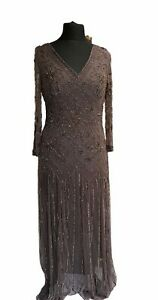Dress Size 14 Brown Coffee Long Maxi Heavy Floral Beaded Sequins Cocktail Party