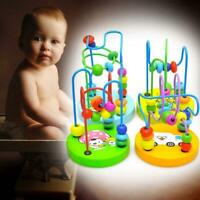 Baby wooden toy Mini around the beads Wire maze Colorful Educational game Kid JG