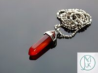 Red Agate Crystal Point Pendant Natural Gemstone Necklace Healing Stone Chakra