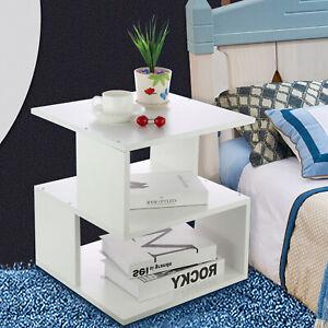 2Tier Coffee Tea Table Square Side Desk Bedroom Nightstand with Storage Shelf