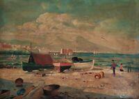 Vecchio Dipinto olio su tela Paesaggio Marina Veduta Golfo di Napoli con figure