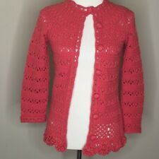 HEATHER B Womens Sz S Coral Crocheted 3/4 Sleeve Cardigan Covered Buttons