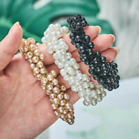 Women Pearl Bead Hairband Bun Ponytail Elastic Hair Accessory Band Scrunchie Sy