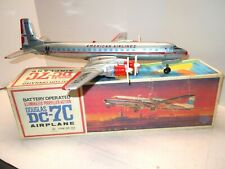 LG 1958 Japan YONEZAWA Tin Battery Op Lighted Props  DC 7 Airplane w/ BOX. WORKS