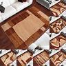 Kurzflor Teppich Modern Designer Teppiche in Braun Geometrisch Muster Wohnzimmer