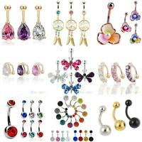 Belly Bar Crystal Dangle Reverse Body Piercing Jewellery Rings Navel Bars Cute
