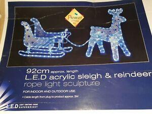 PREMIER LED ACRYLIC SLEIGH AND REINDEER INDOOR OUTDOOR CHRISTMAS LIGHTS