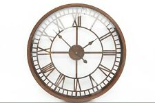 LARGE RUSTIC IRON METAL GLASS FACE ROUND WALL CLOCK