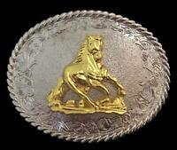 Golden Western Equestrian Sport Horse Belt Buckle