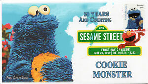 19-157, 2019, Sesame Street, Digital Color Postmark, FDC, Cookie Monster, 50 Yea