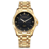 CHENXI Business Unisex Gold Stainless Steel Wrist Watch Analog Luxury Men+Box