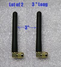 "Lot 2 Wi-Fi Wireless Internet RF Micro Antenna Ant Aerial Black 3"" RP-SMA Male"