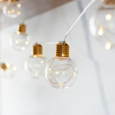 10 G60 Bulb Battery Operated LED Festoon Party String Lights with Brass Fittings