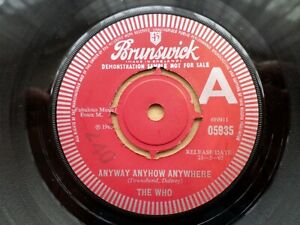 The Who Original Vinyl Single 'Anyway Anyhow Anywhere' Demo / Promo Copy. Rare