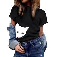 Women Cat Print Summer Shirts Cotton Blouse T-shirt Short Sleeve Hipster Tops
