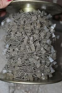 """New Vintage Vertical Blind Nickel Plated Metal Chain and Clips Fabric Vanes 65"""""""