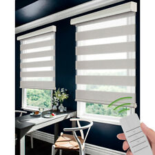 Motorized Zebra Blinds Sheer Roller Shade Waterproof Window Treatment White