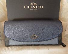 Authentic Coach Slim Envelope Wallet Bl Smoke Metallic Navy 22714 NWT/BOX $265