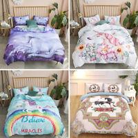 3D Kids Cartoon Unicorn Duvet Cover Quilt Cover Comforter Pillowcase Bedding Set