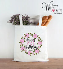 PINK FLORAL FLOWER WREATH NAME INITIAL TOTE SHOPPER SHOPPING BAG PERSONALISED