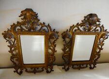 1890'S Matching Antique Decorative Ornate Bronze Beveled Mirrors