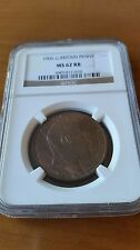 GREAT  BRITAIN  1906 EDWARD  VII PENNY  NGC  MS  62 RB