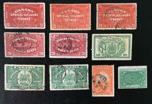 CANADA. SPECIAL DELIVERY. GOOD CLASSIC LOT OF 10 MNG/USED STAMPS. CAT.115 US$.