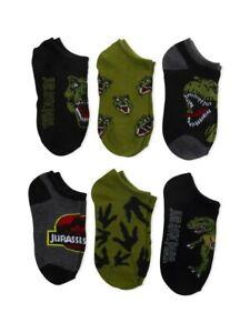 Jurassic Park Little Boys No Show Dinosaurs Socks 6pk