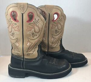 Ariat Women's Probaby Western Boots Tan/Black Boots Leather 6.5 B EUC