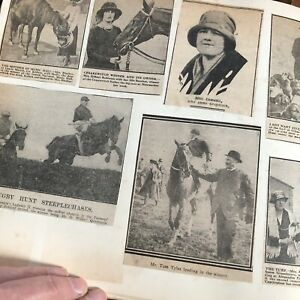 Vintage Scrapbook Newspaper Magazine Cuttings Royalty Horse Racing Crafting Old
