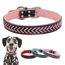 Braided Leather Pet Dog Collars Soft Adjustable for Medium Large Dogs Necklace