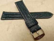 New Made in France Green Padded Shark Grain 20mm Watch Band Chrome Buckle $29.99