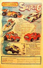 1976 Original Matchbox Print Ad Super 6: Formula 500, DeTomaso Pantera, Police +