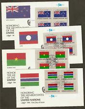UN NY #477-492 Flags 1986 Set of 16 Artmaster MIB4FDCs (1 Cancelation missing)