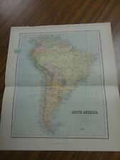 Nice color map of South America. Printed 1891 by Chambers.