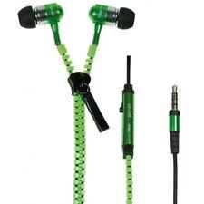 Cuffia Auricolare Microfonica Stereo Zzipp per Smartphone Design Cerniera Verde