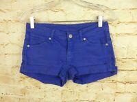 MNG Mango Jeans Cuffed Shorts Blue Cotton Blend Womens Size 4 USA  36 EU