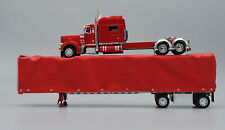 """RED PETERBILT 379 70"""" W/RED CURTAIN SIDE TRAILER DCP 60-0526"""