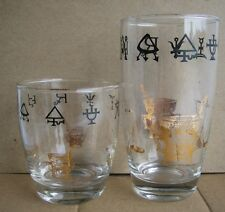 VTG 2x Pharmacy symbols gold foil glasses cups apothecary Rx magic tall short