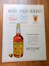 1950 Old Taylor Whiskey Ad Signed Sealed Delicious