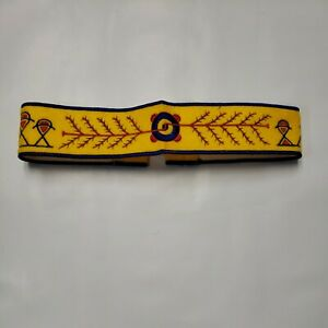 Vintage Embroidery Felt YMCA Indian Guides Hope Headband Yellow Blue Father Son