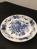 "PORTMERION Harvest Blue 8"" Luncheon Plate W High Rim Britain"